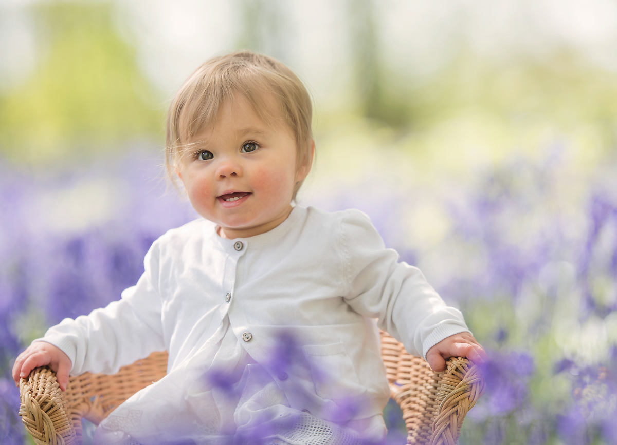 Baby girl in the bluebells