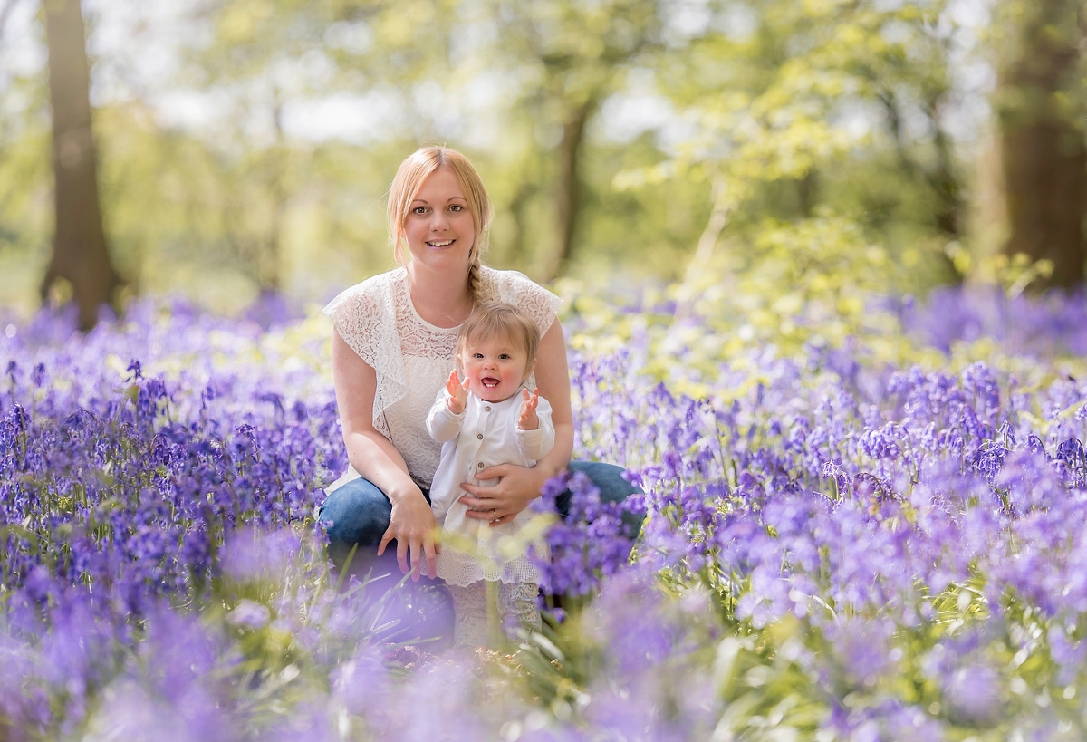 Baby with mum in the Bluebells
