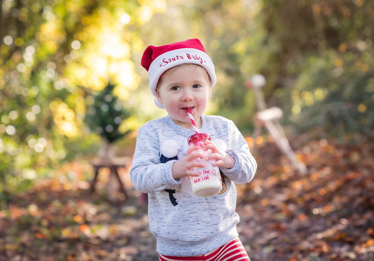 Boy enjoying a Christmas photo shoot