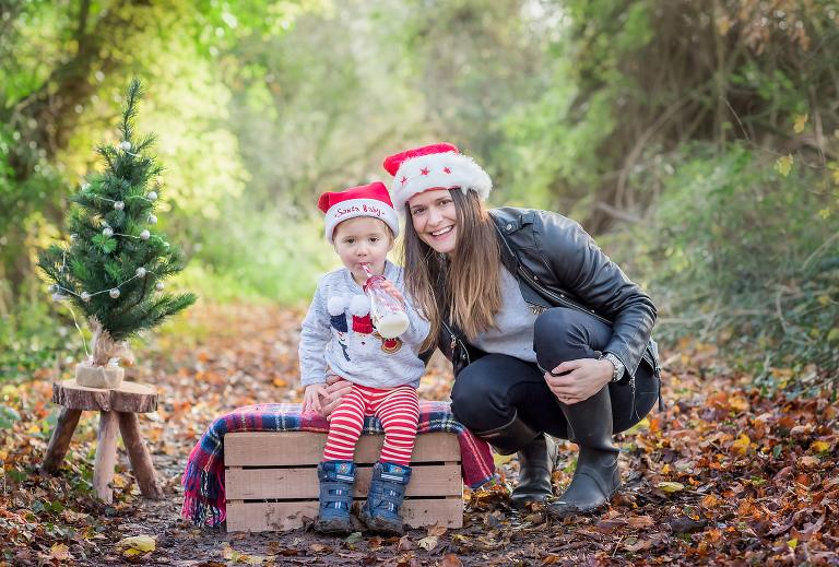Family enjoying a Christmas photo shoot
