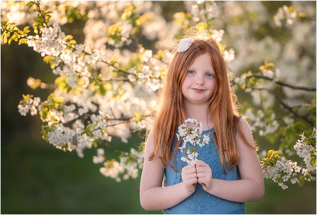 Girl enjoying spring family photo shoot