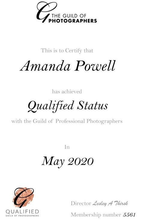 Amanda Powell Qualified Professional Photographer with Guild of Photographers